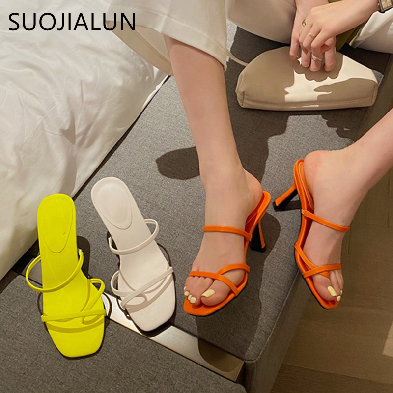 SUOJIALUN 2020 New Sexy Thin High Heel Slippers Fashion Fluorescent Color Narrow Band Summer Fashion Outdoor Slippers Slides