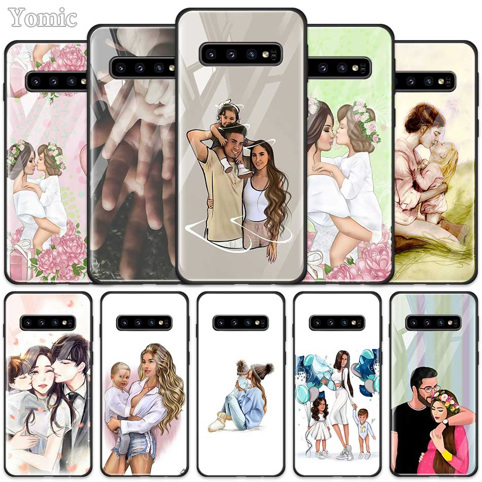 Mom Dad Baby Family Case for <font><b>Samsung</b></font> Galaxy S20 S10 S10e S9 S8 Plus <font><b>A50</b></font> A70 Note 10 + 5G Tempered Glass <font><b>Phone</b></font> Cover Coque image