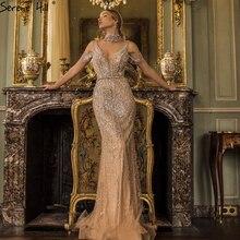Serenhill robe de soirée forme sirène, sans manches, tenue de soirée Sexy, couleur Champagne, col en v, perles, pierreries, dernier Design, Dubai, CLA70055, 2020