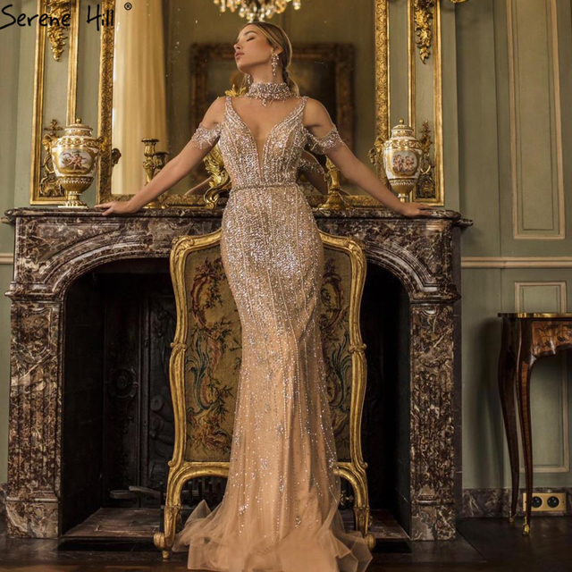 שלווה היל דובאי שמפניה V צוואר פניני יהלומי שמלת ערב 2020 האחרון עיצוב שרוולים בת ים סקסי המפלגה שמלת CLA70055