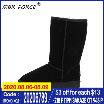 MBR FORCE Classic Genuine leather Fur Snow boots women High quality Australia Boot Winter Boots for women Warm shoes long boots clax mens high boots genuine leather autumn casual motorcycle boots male shoe winter boot fur warm snow shoes
