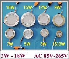 Luz LED de techo, luz interior de aluminio, foco empotrado, luz LED descendente, 3W, 5W, 7W, 9W, 12W, 15W, 18W, 21W, 24W, luz de techo