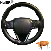 Hand Sewing Car Steering Wheel Cover Top Layer Cow Leather Volant For Toyota Camry 2018 2019 RAV4 2019 Avalon 2018 2019 2020