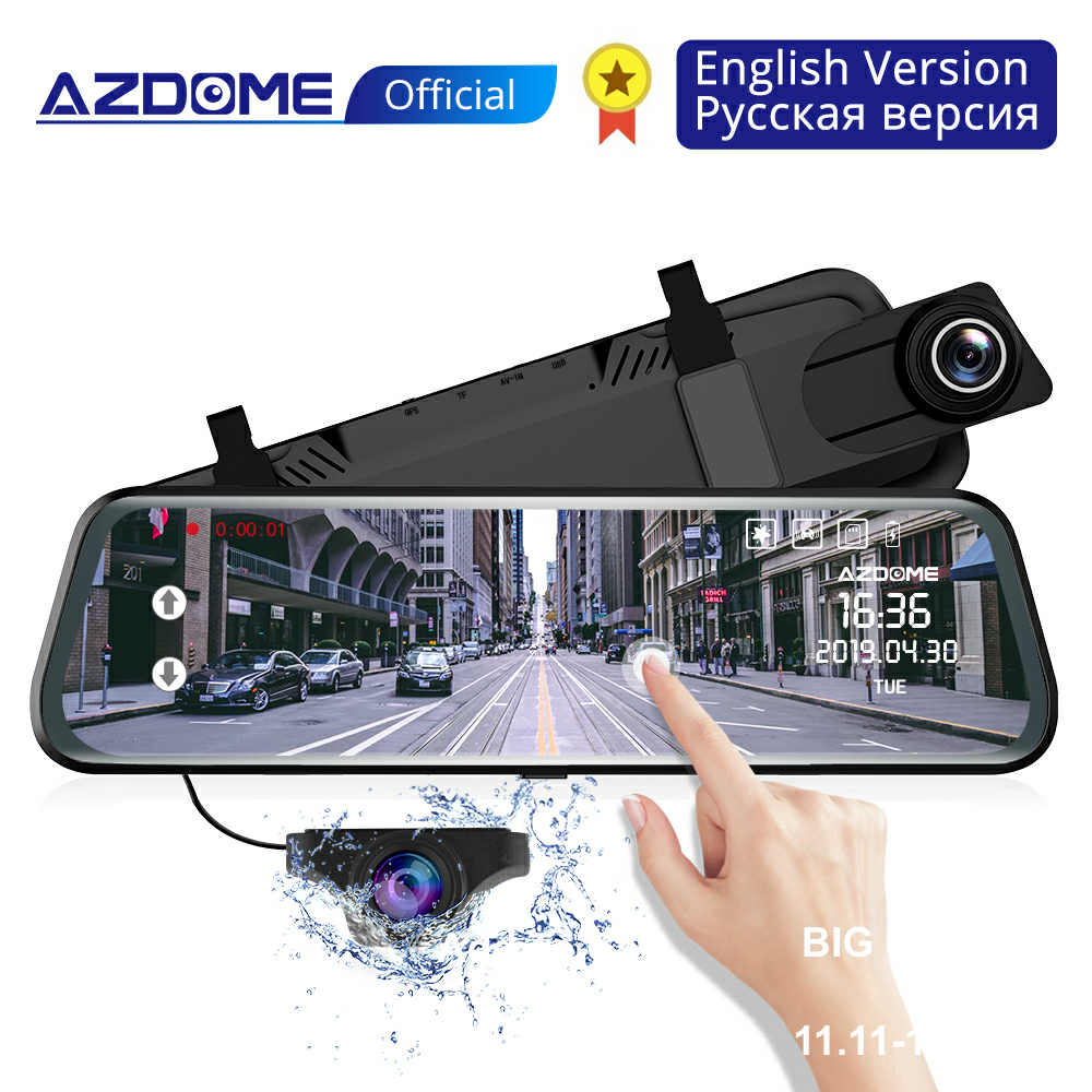 AZDOME PG02 Car Dvr camera  Stream Media Full-Screen Touch dashcam 10 Full HD 1080P rear view mirror Video Recorder