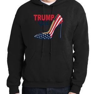 USA Flag High Heel Shoe Hoodie Patriotic 2020 Trump Girl Hooded Pullover