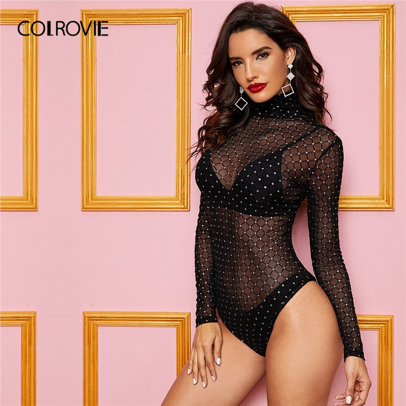 COLROVIE Black High Neck Sheer Mesh Overlay Bodysuit Women Solid Bodysuit 2019 Fall Fashion Sexy Skinny Ladies Bodysuits