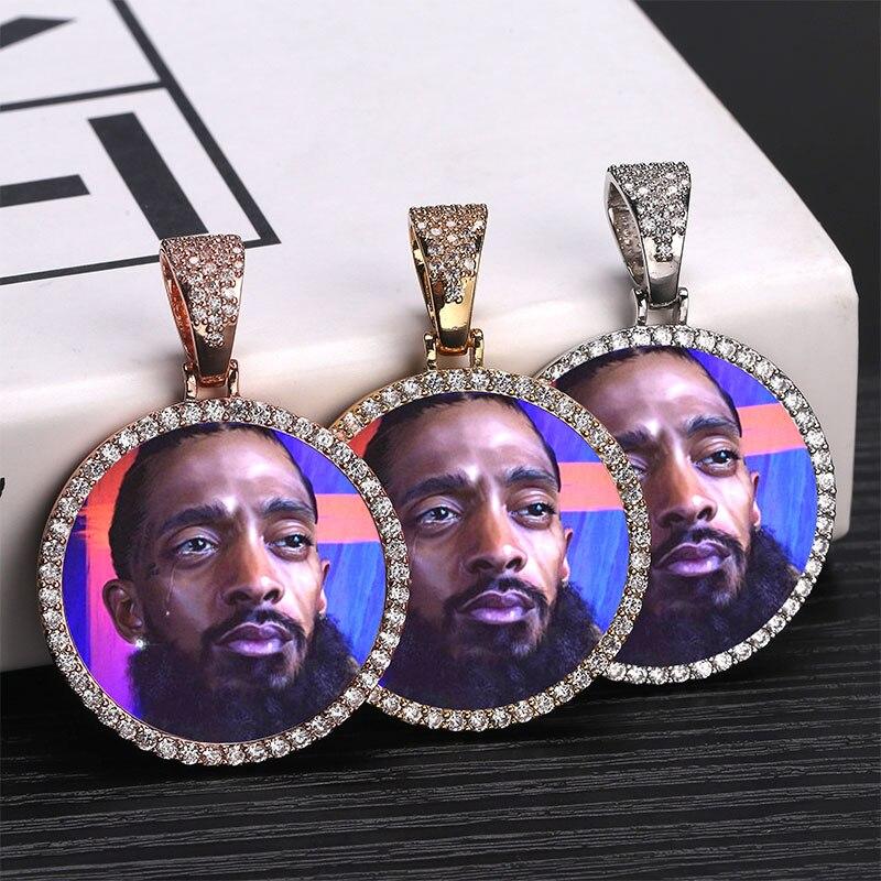 Foto personalizada memoria medallones sólido colgante collar con cadena de tenis Hip Hop joyería personalizada zirconia cúbica cadenas regalo