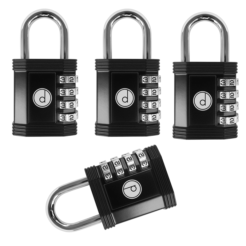Padlock-4 Digit Password Lock For Gym,Sports,School&Employee Locker,Outdoor,Fence,Hasp And Storage-All-Weather Metal
