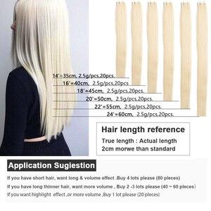 """Image 2 - Fita reta do plutônio do cabelo humano de remy nas extensões do cabelo 14 """" 26"""" polegadas fita reta de bigsophy nas extensões do cabelo humano da trama da pele do cabelo humano"""