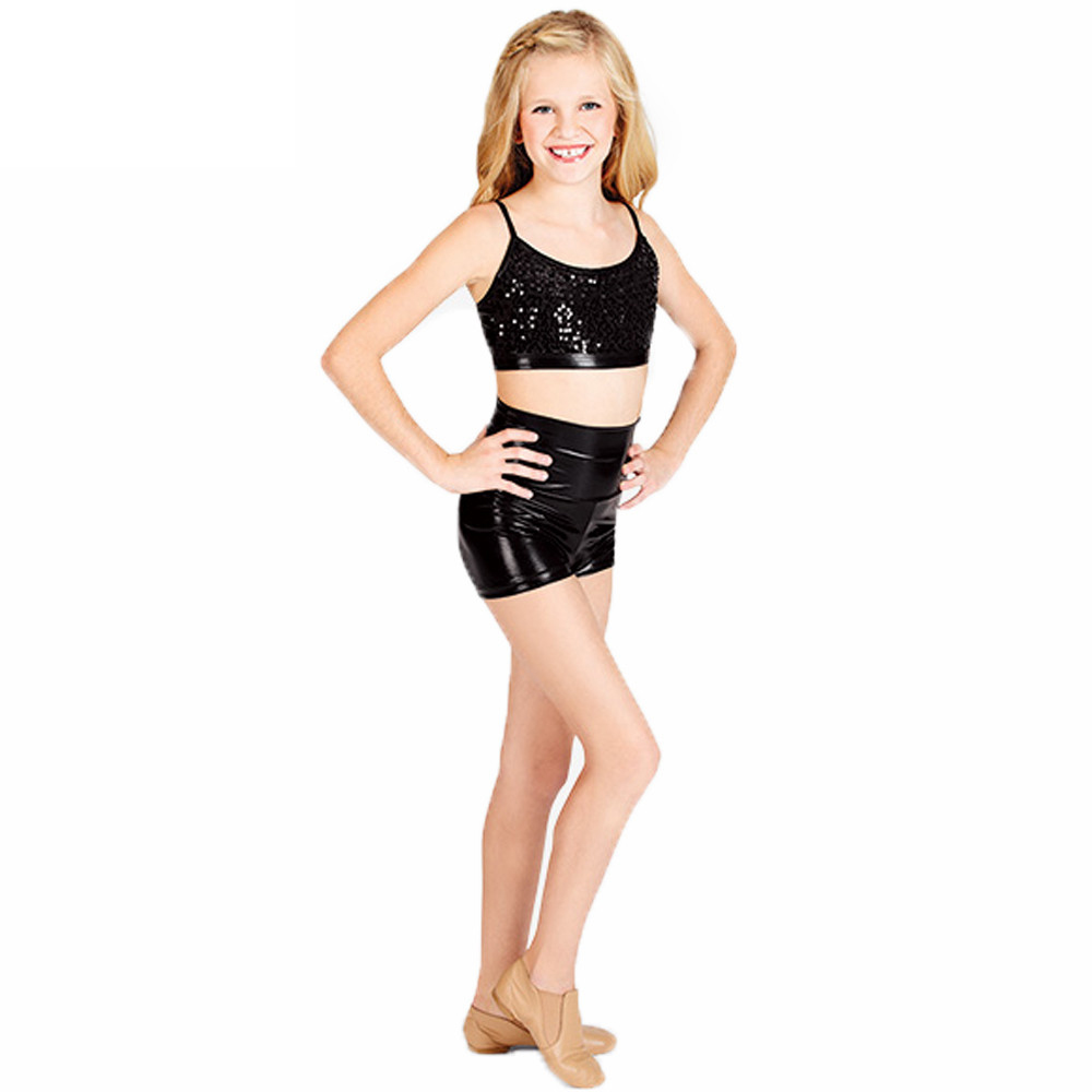 Child High Waist Metallic Dance Shorts Girls Black Gymnastics Shorts Toddler Shiny Shorts Teams Stage Performance Shorts