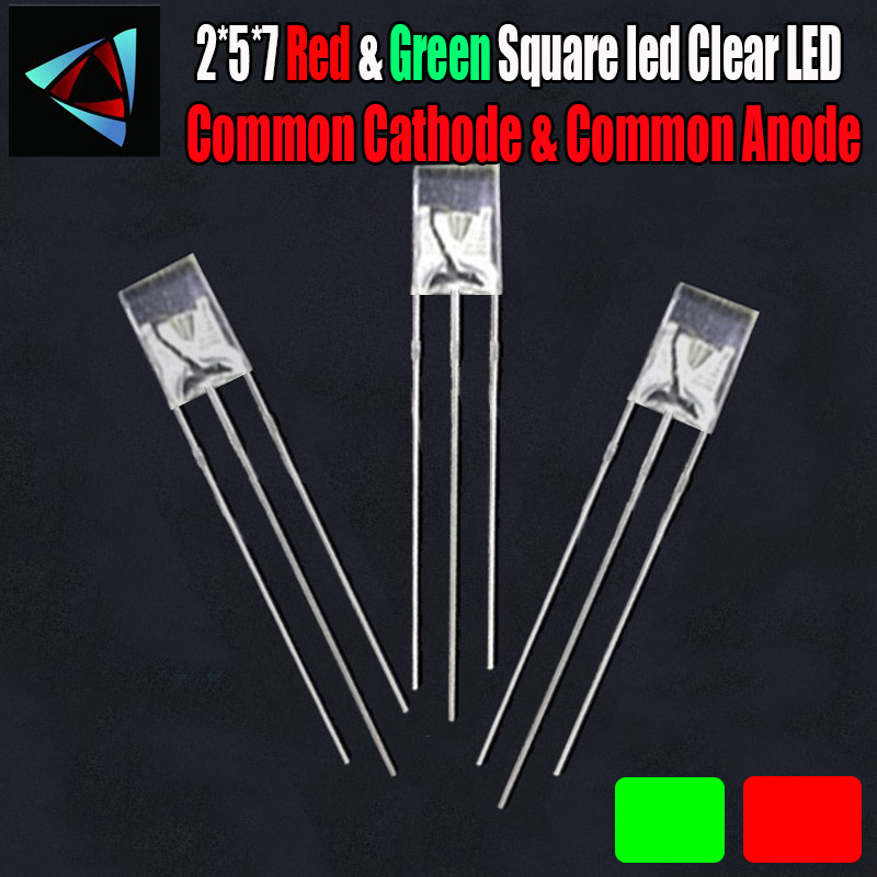 100Pcs 2x3x4mm Rectangle Bi-Color Red//Green Common Anode Water Clear LED Diodes