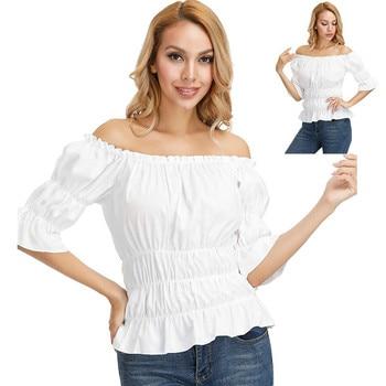 цена на Off shoulder blouse medieval blouse womens renaissance blouse plus size medieval pirate blouse shirt