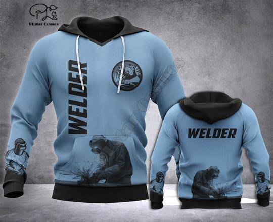 Welder printed Hoodies sweatshirts Men Women Fashion Hooded Long Sleeve streetwear Pullover cosplay costumes 5