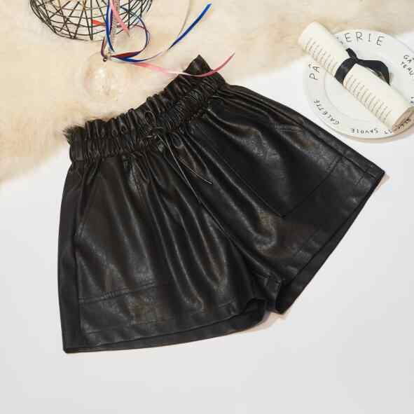 Women PU Leather Shorts Elastic High Waist Wide Leg Short Pants Plus Size Autumn Winter Outerwear Woman Shorts DV260