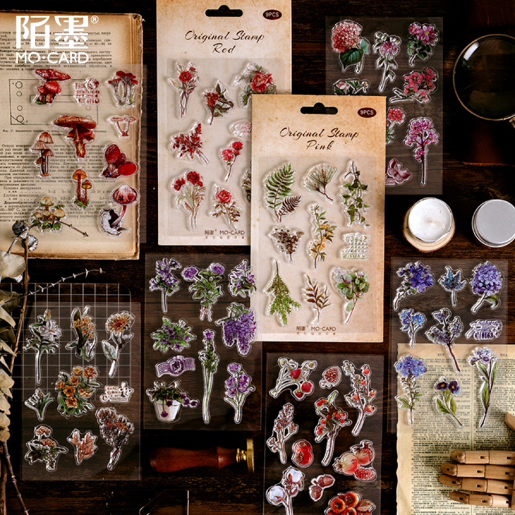 9pcs/pack Vintage Leaves Flowers Rubber Clear Stamp For Card Making Decoration And Scrapbooking