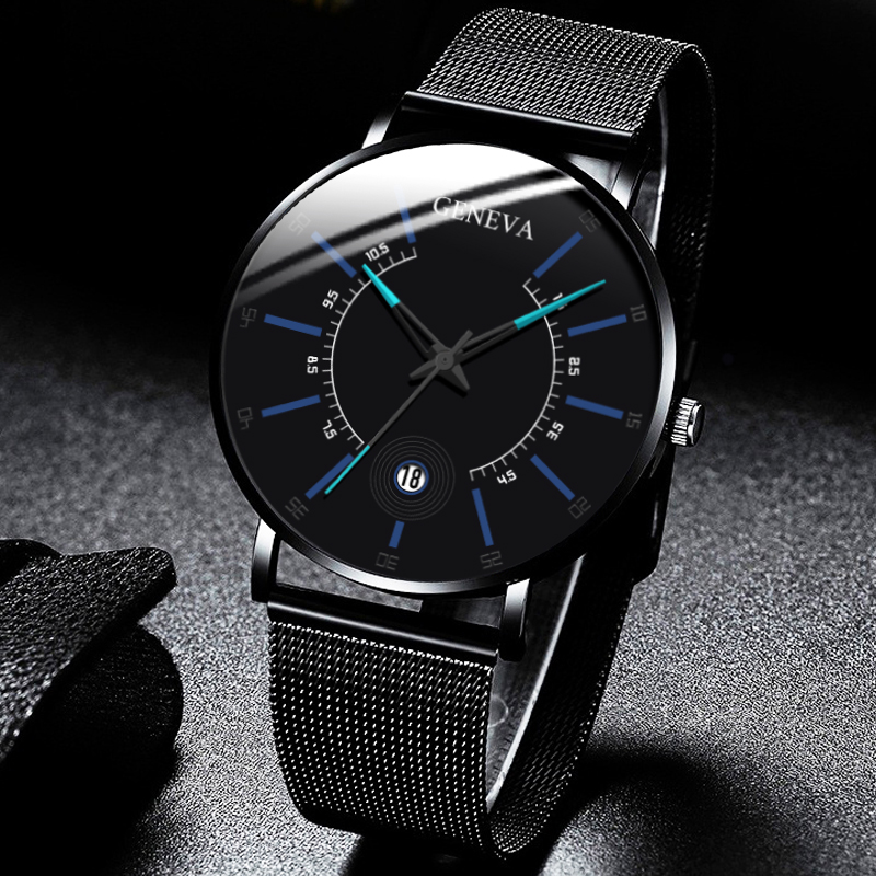 Men Fashion Business Watches Black Mesh Belt Wrist Watch Luxury Calendar Stainless Steel Quartz Watch Analog Clock Uhren Herren