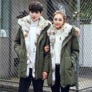 Image 5 - 2019 אופנה גברים ונשים דביבון פרווה צווארון חורף מעיל מעיל חם עבה ארנב פרווה מקרית מעילי גדול גודל 4XL 5XL