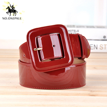 NO.ONEPAUL decoration casual Cowhide belts New fashion designer design ladies square buckle retro belt trend simple youth