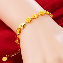Fashion Jewelry 24K Bracelet Womens Exquisite Flowers Love Styling Woman Surprise Gift Pop