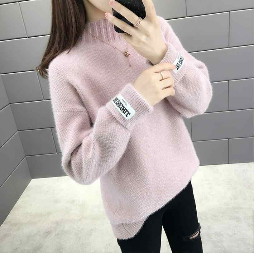 Womens Casual Turtleneck Long Sleeve Oversized Pullover Sweater Loose Knitted Winter Jumper Tops Thick Soft Solid Knitwear