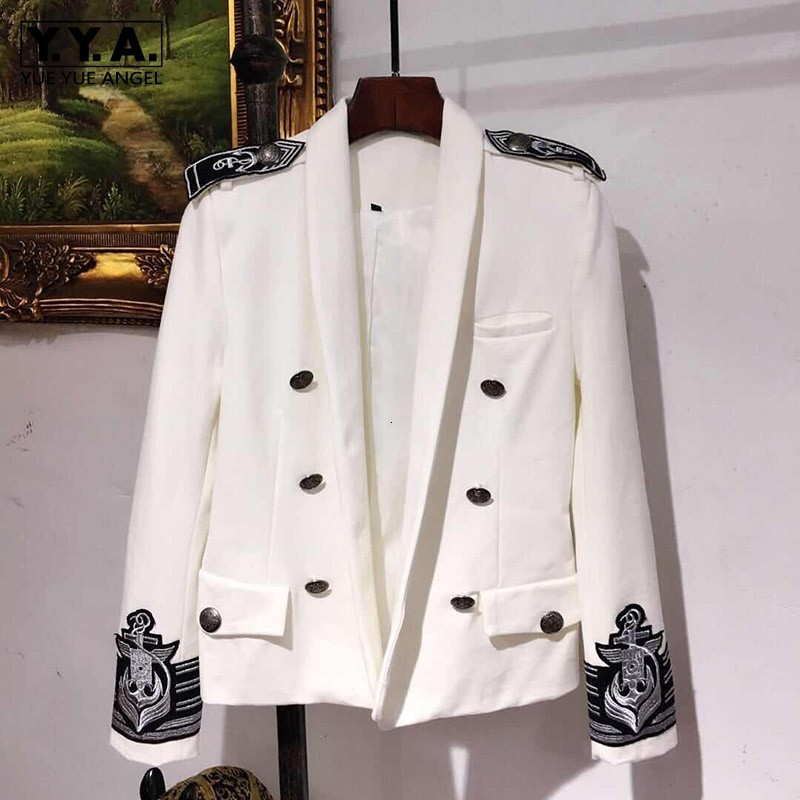 Fashion Mens White Blazer Autumn New Double Breasted Epaulet Embroidery Slim Fit Casual Blazer Jacket Men Groomsman Suit Jacket