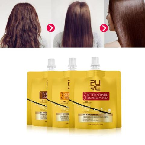PURC Keratin Hair Treatment Set Oil No Irritation No Irritation No Smoke Repair Straighten Damage Hair Care 3 Steps Karachi