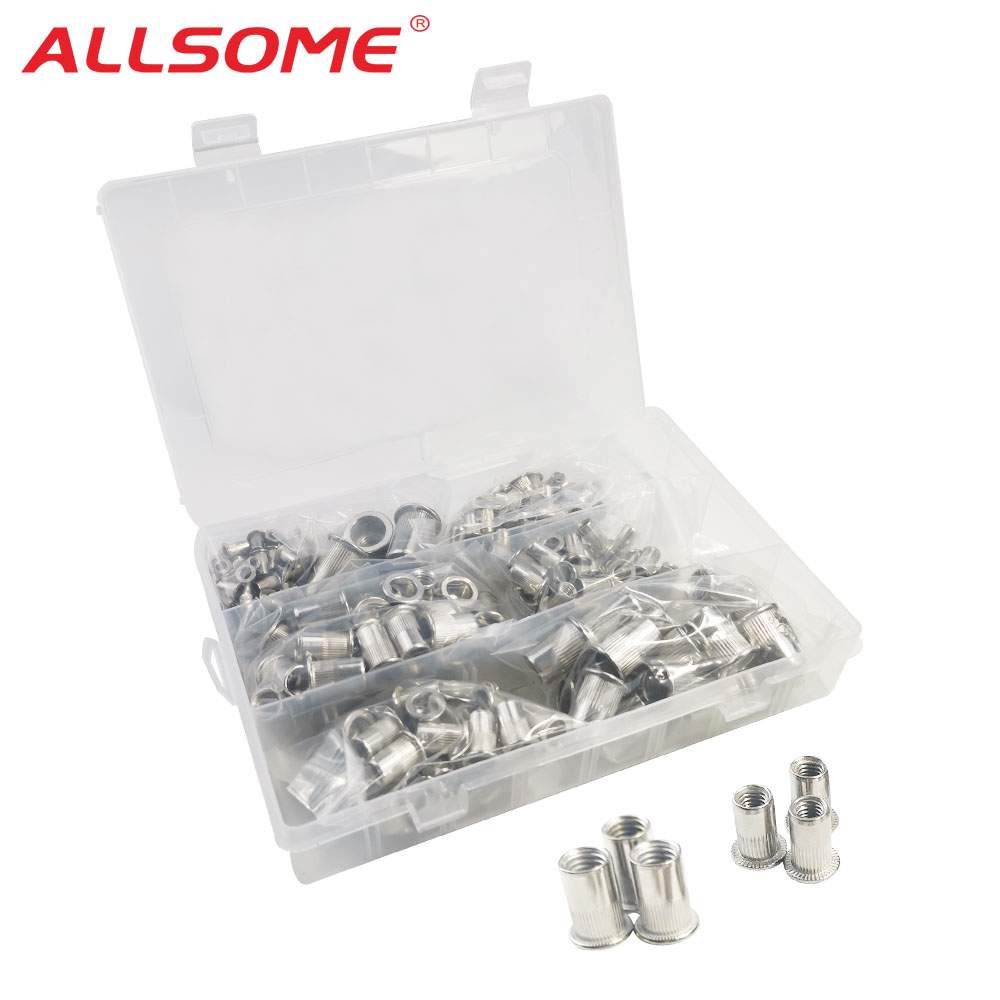 ALLSOME 300Pcs Stainless Steel Riveter Nut M3 M4 M5 M6 M8 M10 M12 Head Rivet Nuts Set Nuts Insert Reveting Multi Size With BOX