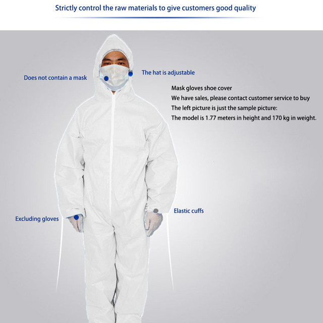 Disposable Anti-epidemic Antibacterial Plastic Closures Isolation Suit Protective Clothing Dust-proof Coveralls Antistatic 4