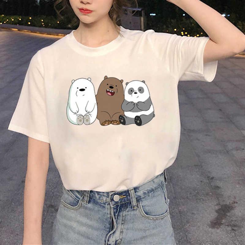 카와이 여름 귀여운 베어 베어 만화 프린트 패션 T 셔츠 여성 의류 하라주쿠 캐주얼 T 셔츠 재미 Streetwear 탑스 Femme