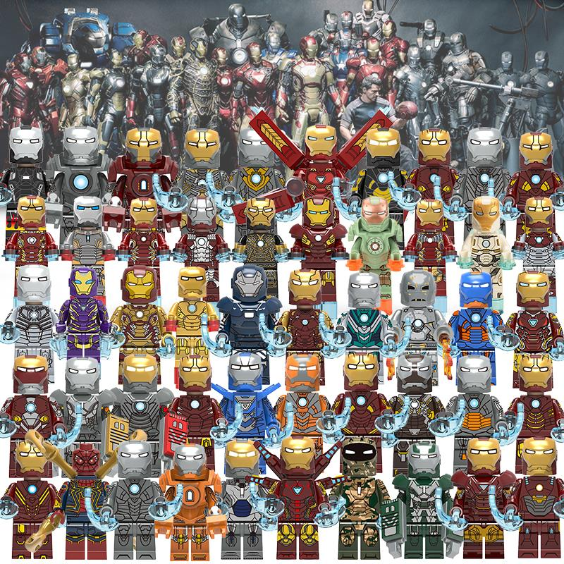 8pcs/lot 100+STYLE Iron Man Super Heroes Armor Figure War Machine Mark Tony Stark Pepper Building Blocks Set Brick Toys Legoing
