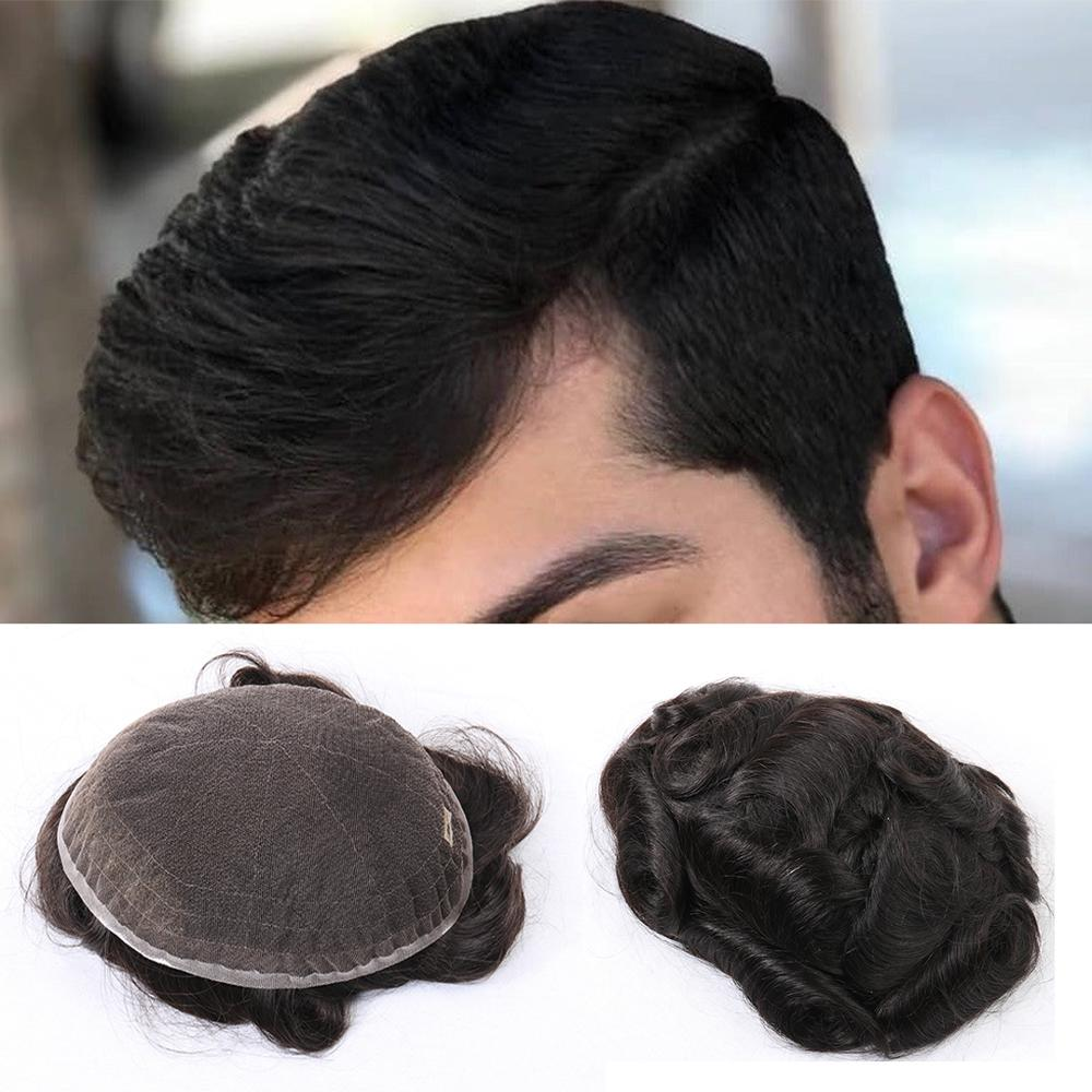 EVAGLOSS Mens Wig Super Fine Swiss Lace Men Toupee 8x10 Inches Natural Hairline Human Hair Prosthetic Male Wigs Fast Shipping