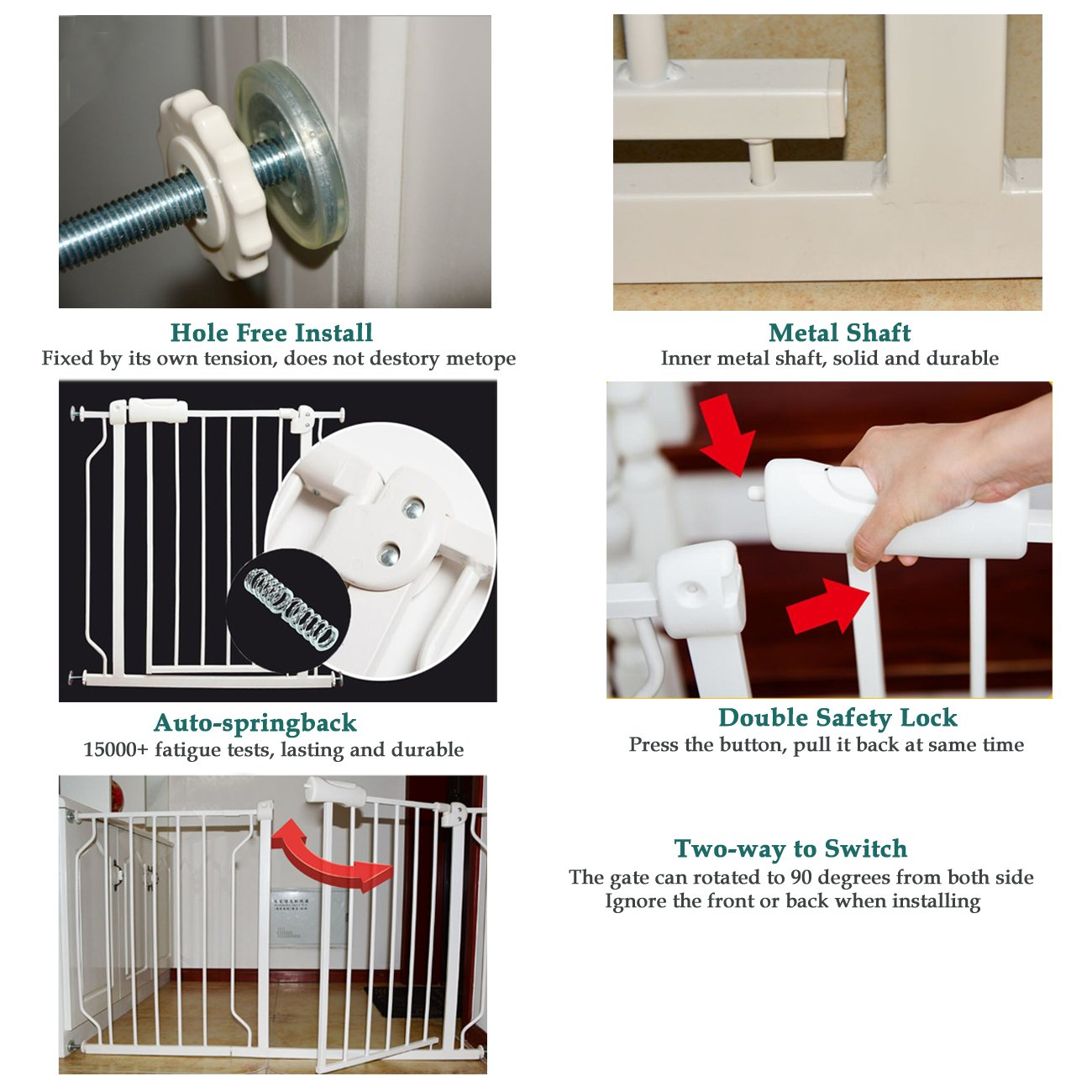 Baby gate for Child Protection and Isolation from Unsafe Places like Stairs and Kitchen 16