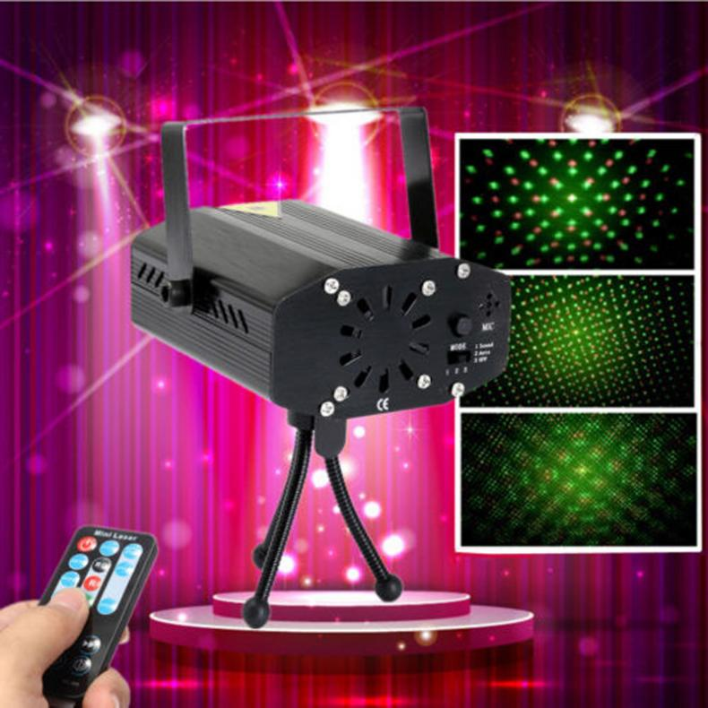Mini Laser Projector Red Green Light Auto Voice Xmas DJ Disco LED Laser Stage Light Projector With Remote Control For Party