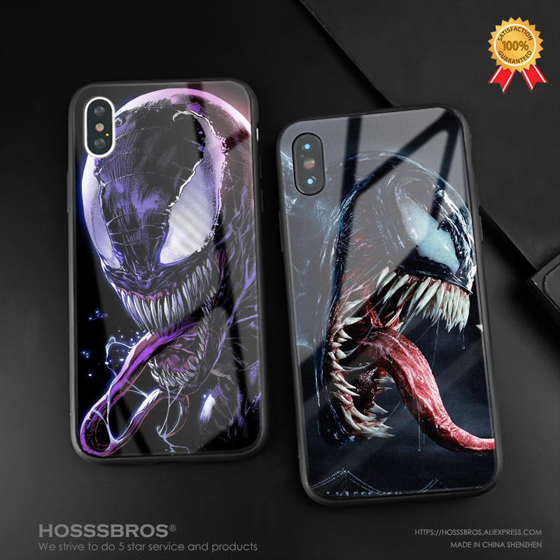 Venom 2018 design poster Tempered Glass Soft Silicone Phone Case Cover Shell For Apple iPhone 5 5s Se 6 6s 7 8 Plus X XR XS MAX marvel glass iphone case