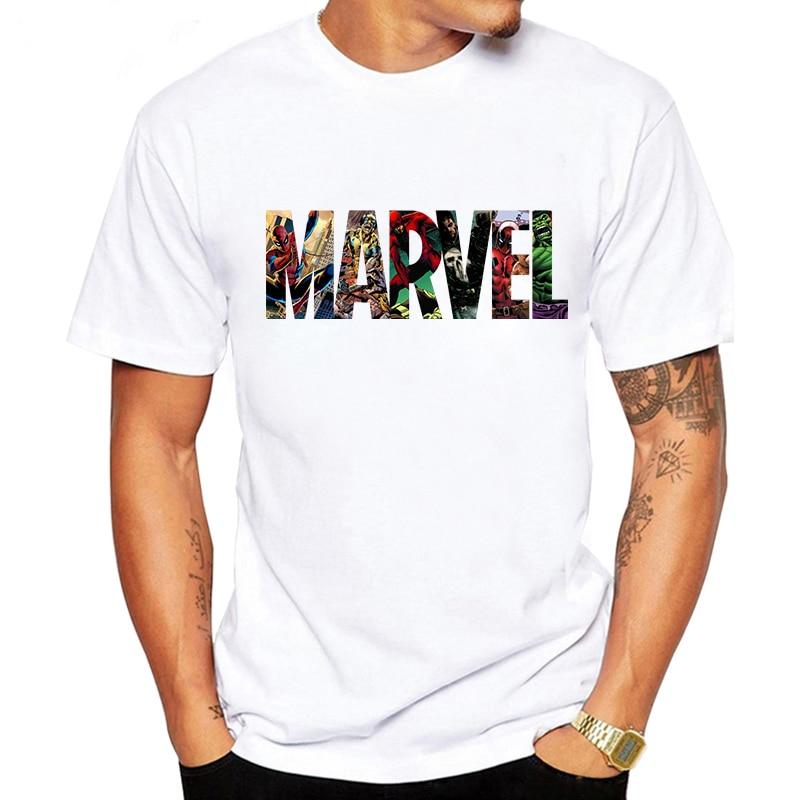 LUSLOS 2019 Men s Casual Marvel Printed T Shirt Fashion Streetwear O Neck Male Tshirt Man