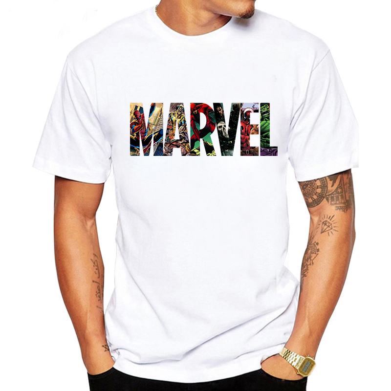LUSLOS 2019 Men's Casual Marvel Printed T Shirt Fashion Streetwear O-Neck Male Tshirt Man T-shirt Tee Top camiseta masculina