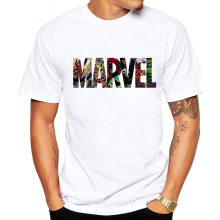 LUSLOS 2019 Men's Casual Marvel Printed T Shirt Fashion Stre