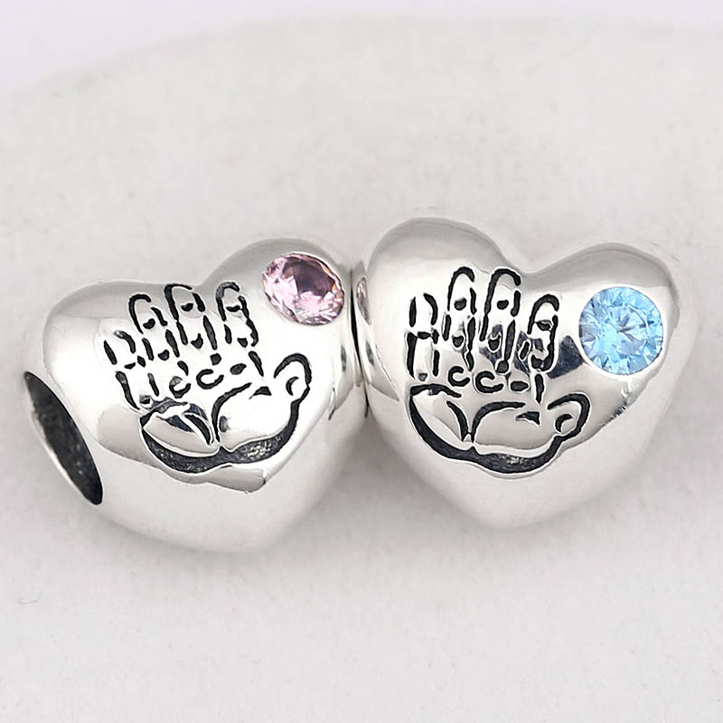 Original Baby Boy & Girl Love Heart With Crystal Beads Fit 925 Sterling Silver Bead Charm Pandora Bracelet DIY Jewelry(China)