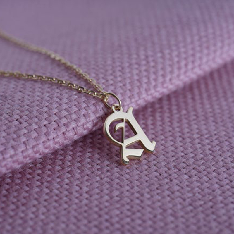 Personalized Letter Necklace Silver Gold Chain Stainless Steel Custom Old English Initial Necklace Gothic Style Necklace For Her