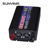 SUNYIMA 2000W Pure Sine Wave Car Power Inverter DC12V/24V/48V To AC220V Double Digital Display Power Converter Booster For DIY