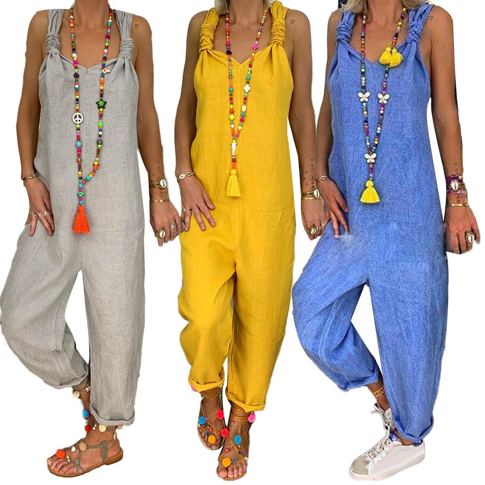 Autumn Summer Women Jumpsuits Solid Color Bib Overall Sleeveless Backless Knotted Jumpsuit Dungarees Sleeveless Romper Overalls