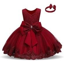 Рождественское платье принцессы для маленьких девочек, зимнее Сетчатое платье для церемоний с цветочным принтом и большим бантом, Официаль...