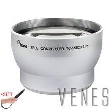 Presente! 55mm 2.0x linha lente de ampliação telefoto tele conversor lente para canon nikon pentax dslr slr câmera prata