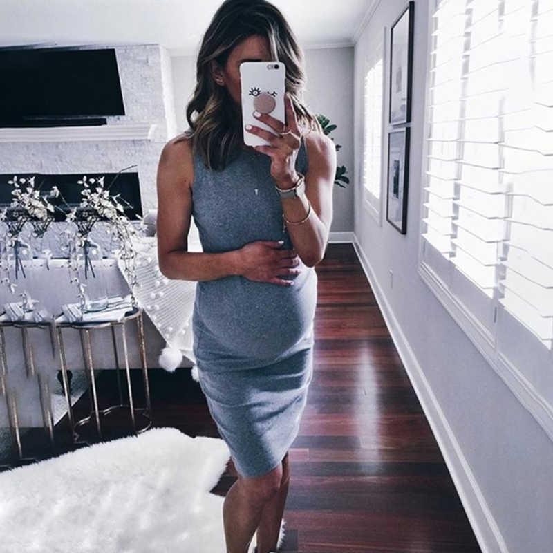 Kadın hamile elbisesi kolsuz gebelik elbise düz renk elbise yaratıcı hamile kadınlar elbiseler