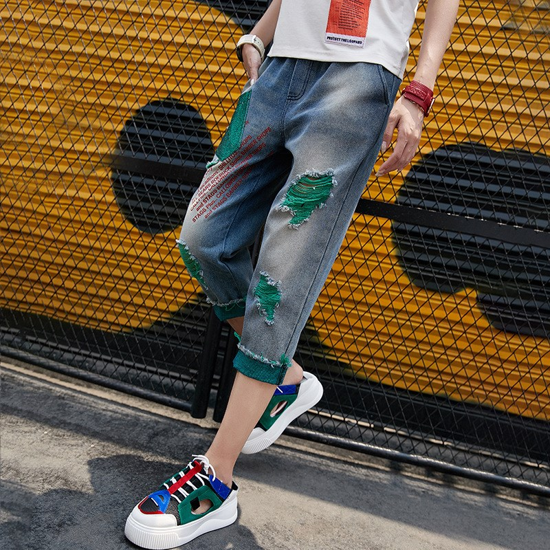Nice Women Vintage Ripped Harem Pants Streetwear Elastic Waist Jeans Contrast Color Cropped Denim Trousers