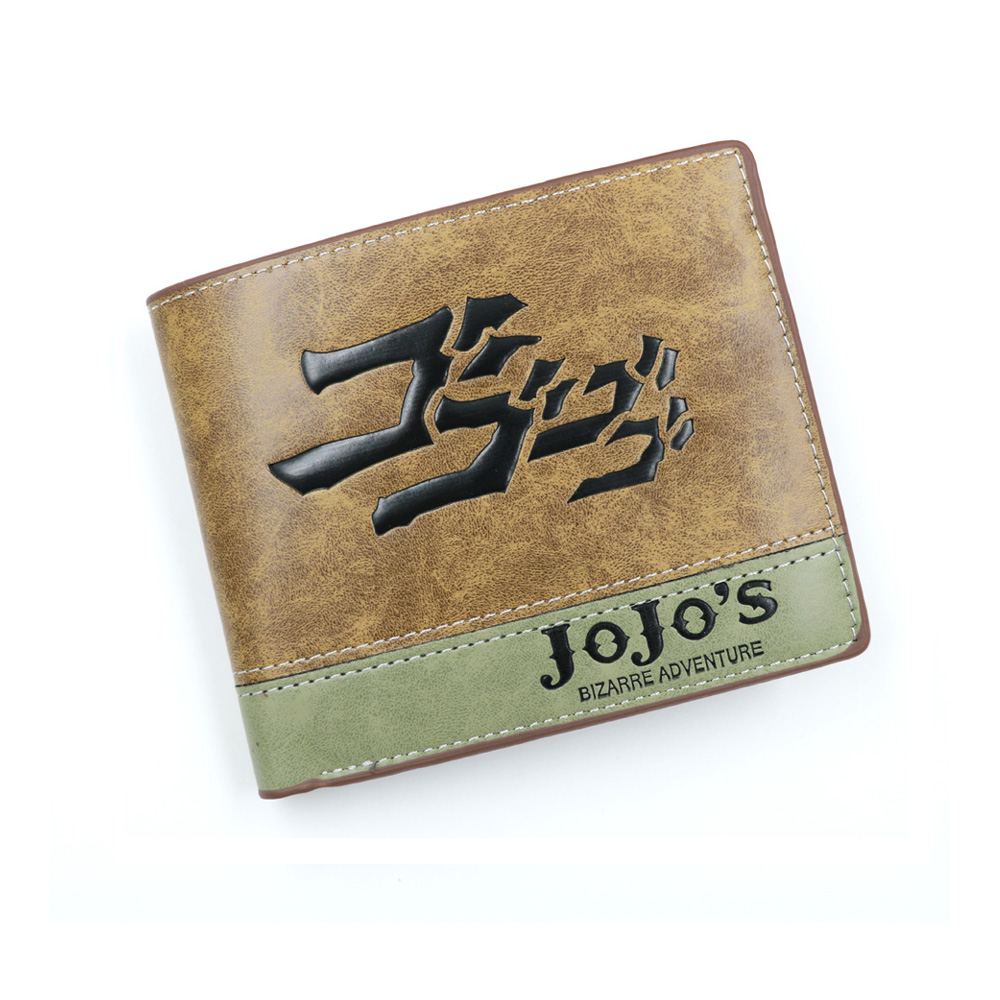 Anime JoJo Bizarre Adventure Khaki PU Leather Wallet With Zipper Coin Purse