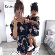 Summer Mother Daughter Family Matching Outfits Off Shoulder Floral Chiffon Girls Women Boho Loose Holiday Dress Sundress Clothes