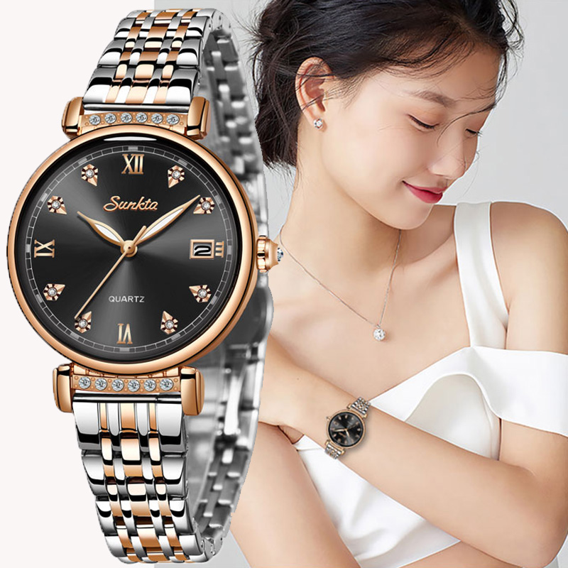2019 SUNKTA Fashion Luxury Ladies Watch Waterproof Rose Gold Steel Mesh Quartz Women Watches Top Brand Clock Relogio Feminino