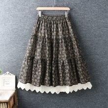 2020 Mori Girl New Spring Elasticated Waist Skirt Embroidered Hem Print Women's