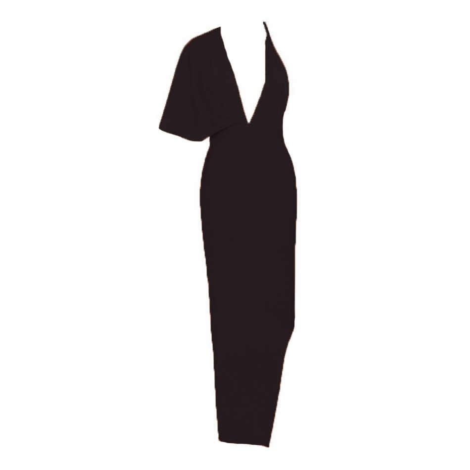 Ciemiili Gedrapeerde Backless Vrouwen Side Split Avond Party Dress 2019 Sexy V-hals Oranje Zwart Lange Bandagedresses
